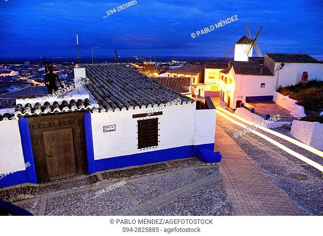 Night view of Campo de Criptana town, Ciudad Real, Spain