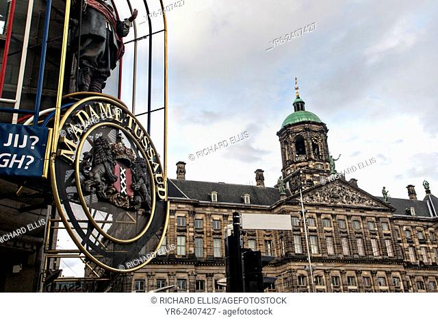 Madame Tussaud and the Royal Palace Dam Square in Amsterdam