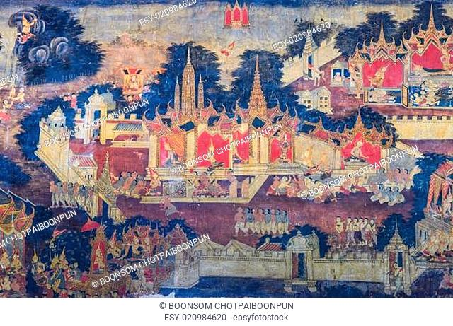 Traditional Thai mural painting of the Life of Buddha on temple wall