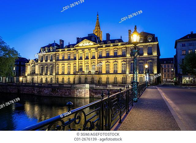 'Palais Rohan' Rohan Palace at night, Strasbourg, Alsace, France