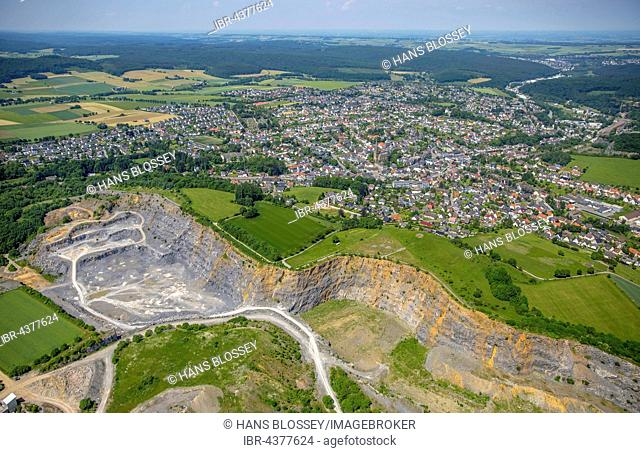 Aerial view, Warstein quarry, limestone quarrying, Nuttlaer Pfad, Warstein, Sauerland, North Rhine-Westphalia, Germany