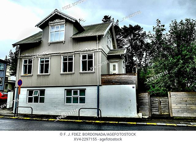 Downtown of Reykjavik with a typical archtecture of building and reseidence houses. Iceland