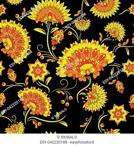 Traditional russian khokhloma seamless pattern. Vector illustration