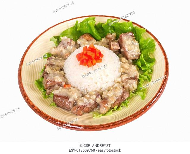 Rice and pork japanese style