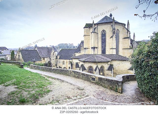 Sarlat la Caneda a beautiful medieval town and one of the highlights to a visit to the Dordogne Perigord France on December 7, 2018: The gothic cathedral