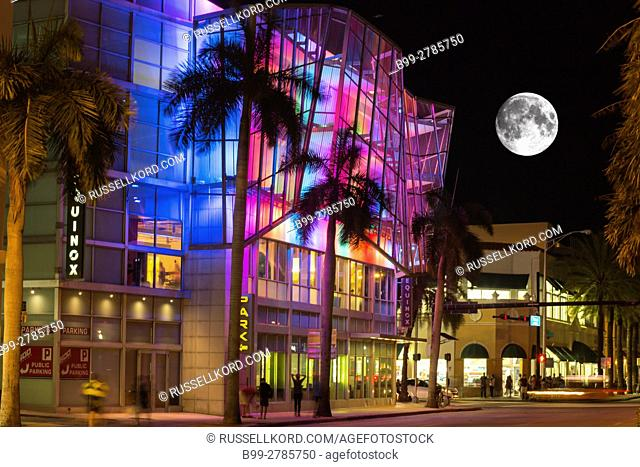 MULTI COLOR RAINBOW LIGHTS EQUINOX BUILDING FIFTH STREET MIAMI BEACH FLORIDA USA