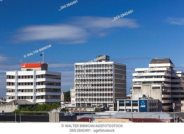 New Zealand, South Island, Otago, Dunedin, CBD skyline, from George Street