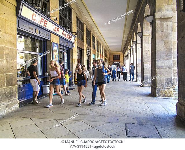 Plaza Nueva in El Casco Viejo (old town). Bilbao, Biscay, Basque Country, Spain