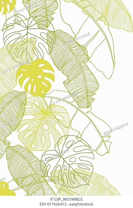Vector illustration leaves of palm tree. Seamless pattern