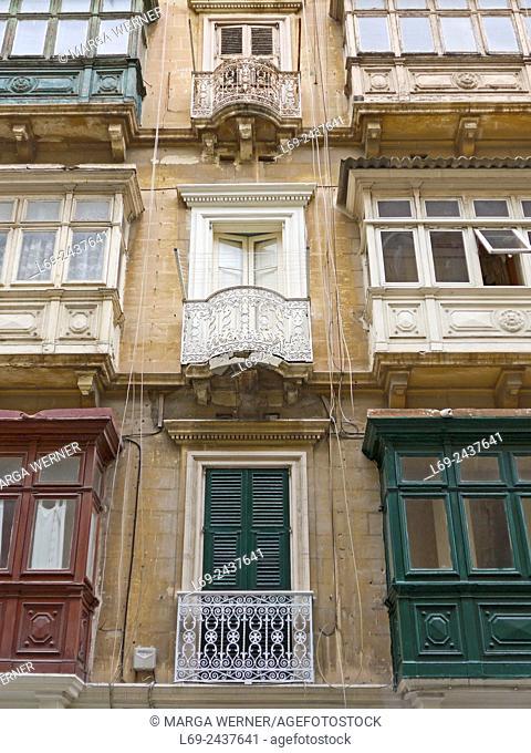 Island Malta, Mediterranean Sea, Architecture in the old town of Valetta