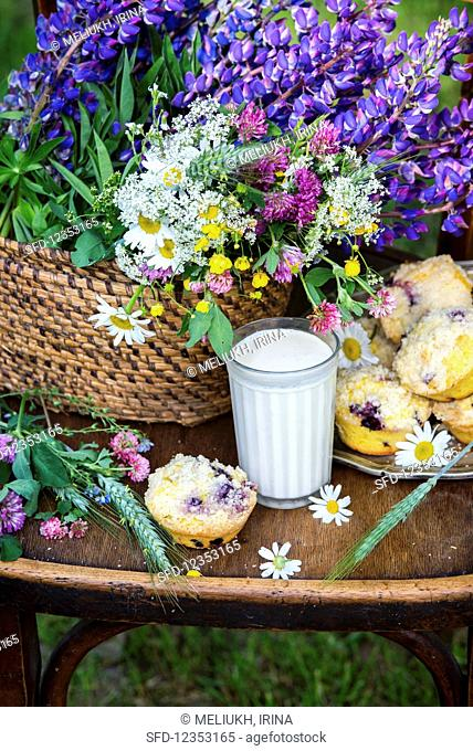 Blueberry crumble muffins in a garden