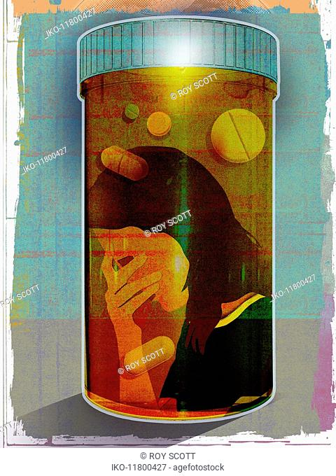 Depressed woman trapped inside prescription medicine bottle
