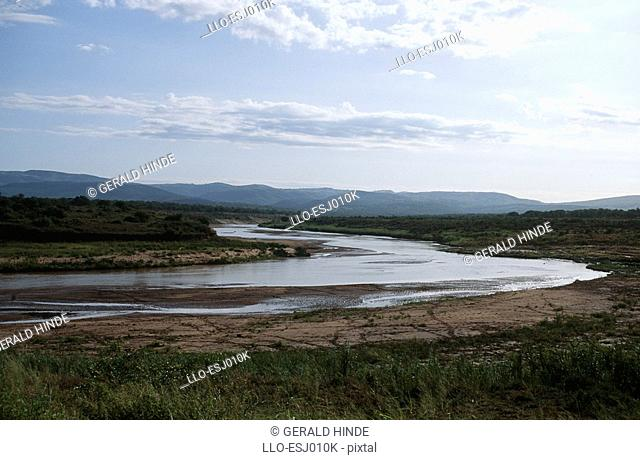 Scenic View of the Meandering Umfolozi River  Hluhluwe Umfolozi Park, Kwa-Zulu Natal Province, South Africa