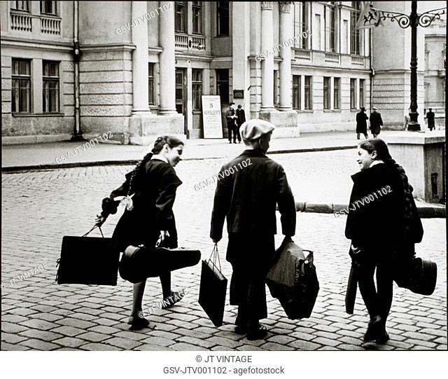 Three Young Musicians, Rear View, Moscow, 1965