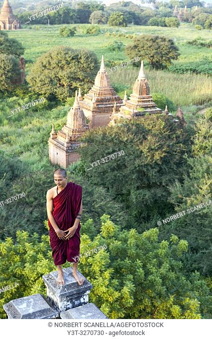 Myanmar (ex Birmanie). Bagan, région de Mandalay. Moine / Myanmar (ex Birmanie). Bagan, Mandalay region. Monk