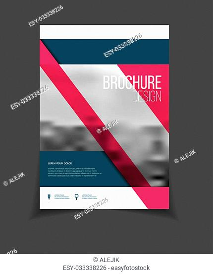 Annual report vector illustration. Brochure with text. A4 size corporate business brochure cover. Business presentation with photo and geometric graphic...