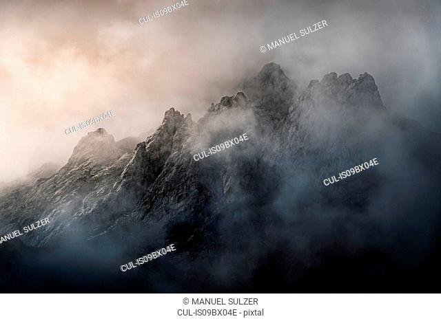 Low cloud over mountains, detail, near Fuente De in national reserve Parque National de los Picos de Europa, Potes, Cantabria, Spain