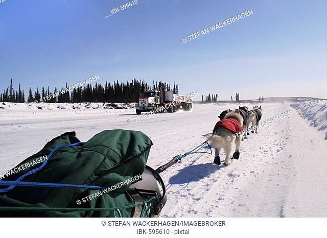 Truck and dog sled, ice road between Tuktoyaktuk and Inuvik, Mackenzie River Delta, Northwest Territories, Canada