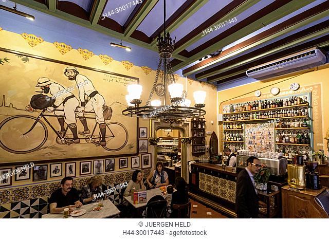 Spain, Catalonia, Catalunya, Barcelona, Barri Gotic, Els Quatre Gats, Famous Cafe and Restaurant