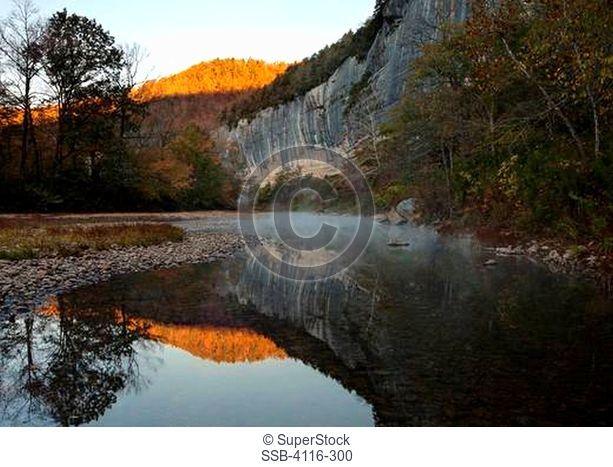 Reflection of a mountain in the river, Buffalo River, Ozark Mountains, Ozark National Forest, Arkansas, USA