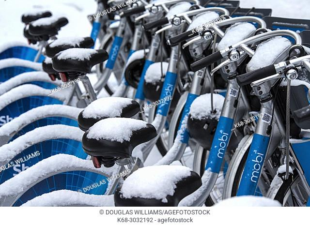bikes in the snow in Vancouver, BC, Canada