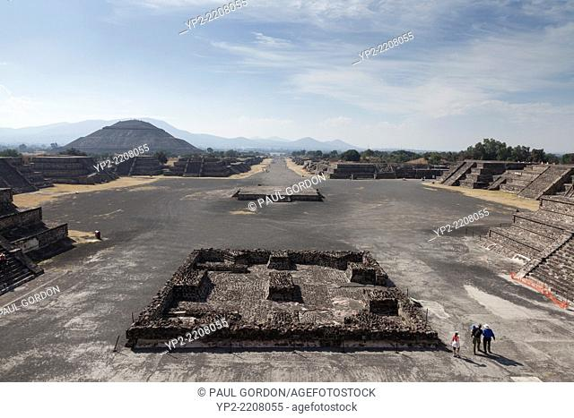 Overhead view of the Plaza of the Moon in Teotihuacan - San Juan Teotihuacán, State of Mexico, Mexico. Teotihuacan was a pre-Columbian Mesoamerican city...