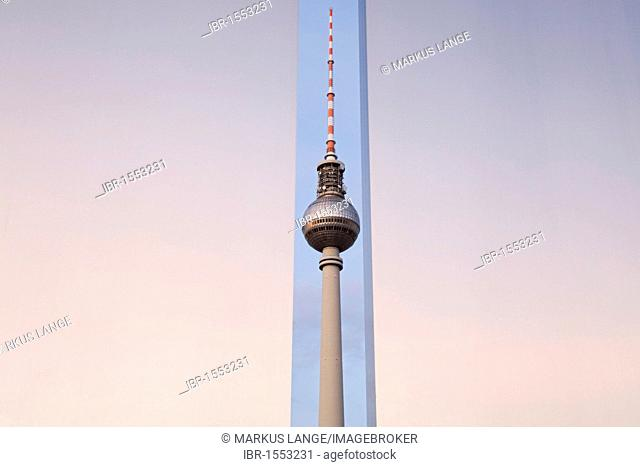 Stele on Marx and Engels Monument with the Fernsehturm television tower, Berlin, Germany, Europe
