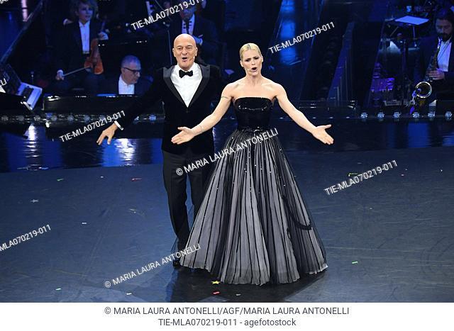 Claudio Bisio, Michelle Hunziker at the 69th Sanremo Music Festival, Sanremo, ITALY-06-02-2019