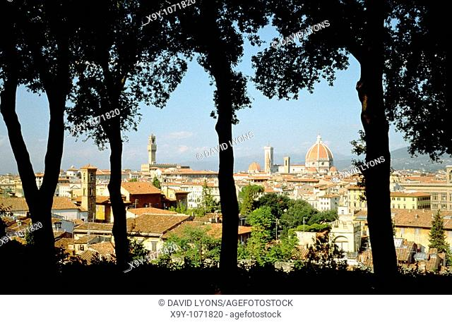Florence  View over the city from Piazzale Michelangelo with Palazzo Vecchio and Duomo in distance  Tuscany, Italy