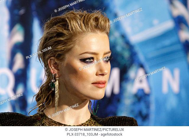 """Amber Heard at the Premiere of Warner Bros' """"""""Aquaman"""""""" held at the TCL Chinese Theatre in Hollywood, CA, December 12, 2018"""