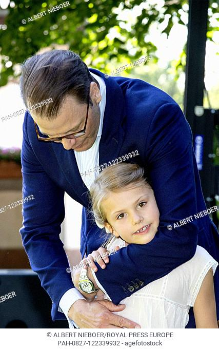 Prince Daniel and Princess Estelle of Sweden at Solliden Palace in Borgholm, on July 14, 2019, to attend the celebrations of Crown Princess Victoria her 42nd...