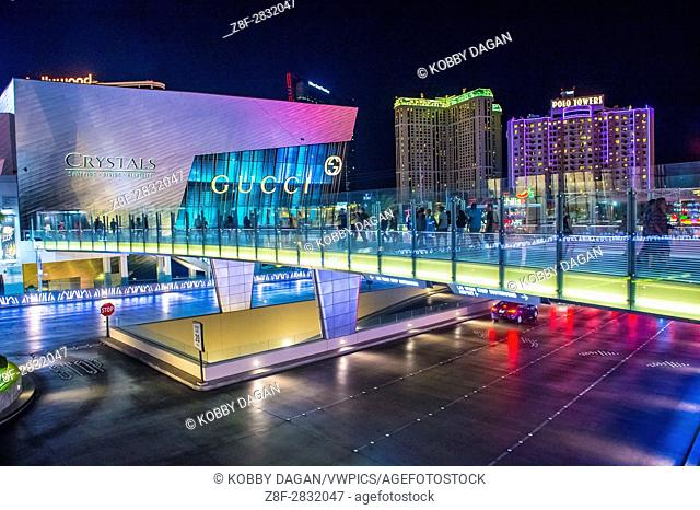 The Crystals mall in Las Vegas strip. Crystal offers 500,000 sq ft of retail space, including gourmet restaurants, shops and galleries