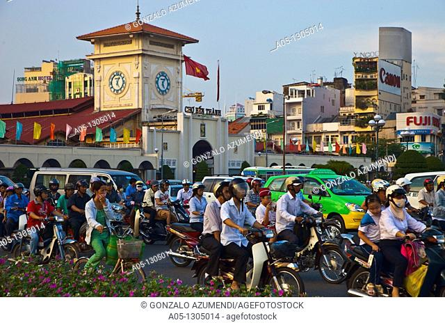 Traffic around Ben Thanh Market. Ho Chi Minh City (formerly Saigon). South Vietnam