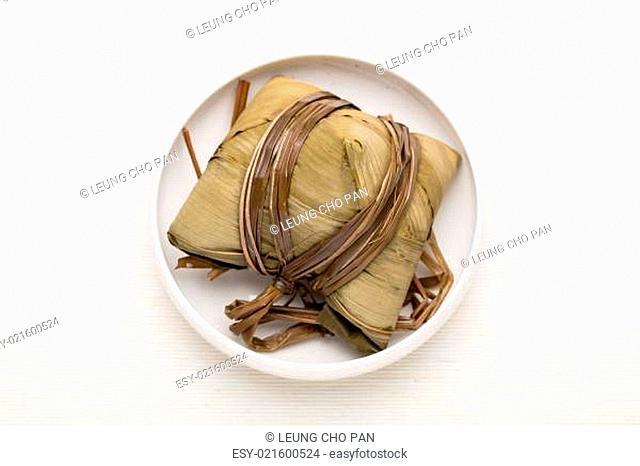 Rice dumpling on the bowl