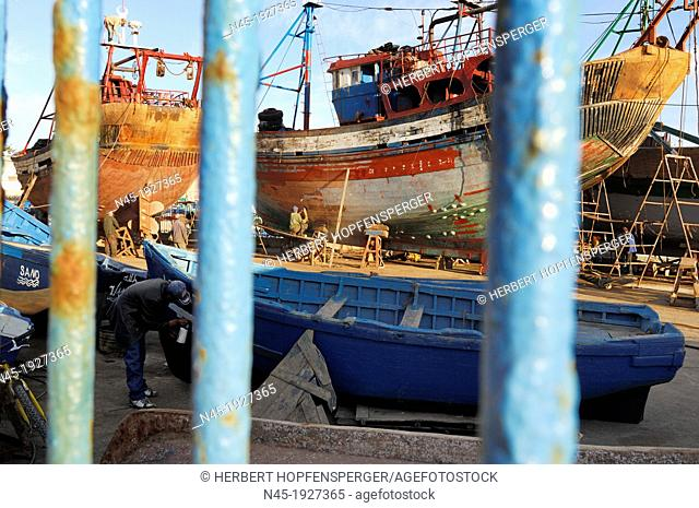 Essaouira; Harbour; behind the Fence; Morocco