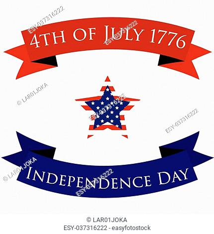 Pair of ribbons with text and a star for independence day. Vector illustration