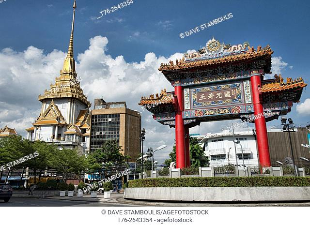 The Chinatown Gate and Wat Traimit in Bangkok, Thailand