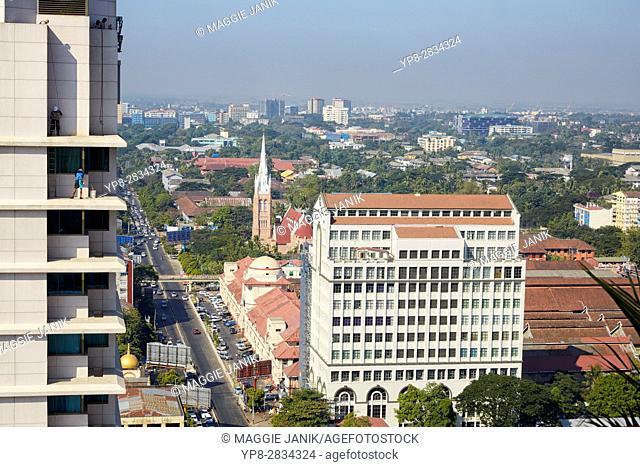 FMI Building and the Holy Trinity Anglican Church on Bogyoke Road, Yangon, Myanmar