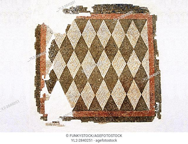 Roman geometric floor mosaic with black and white diamonds shapes. From the Roman villa near Botte, Rome. 1st century BC