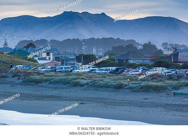 New Zealand, South Island, Christchurch-New Brighton, New Brighton Beach, dusk