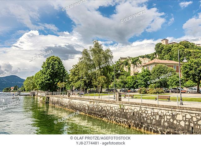 Waterfront of Angera at Lago Maggiore seen from the seaside, Varese, Italy