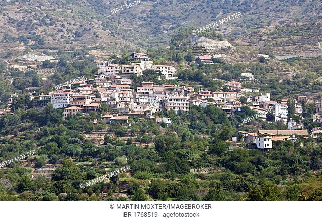 View of Agios Theodoros, a traditional Cypriot mountain village, Troodos Mountains, Central Cyprus