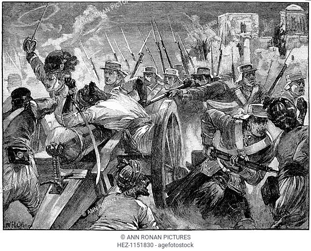Highlanders capturing the mutineers' guns at Cawnpore, Indian Mutiny, 16 July 1857 (c1895). The Indian Mutiny was an uprising against British rule in India...