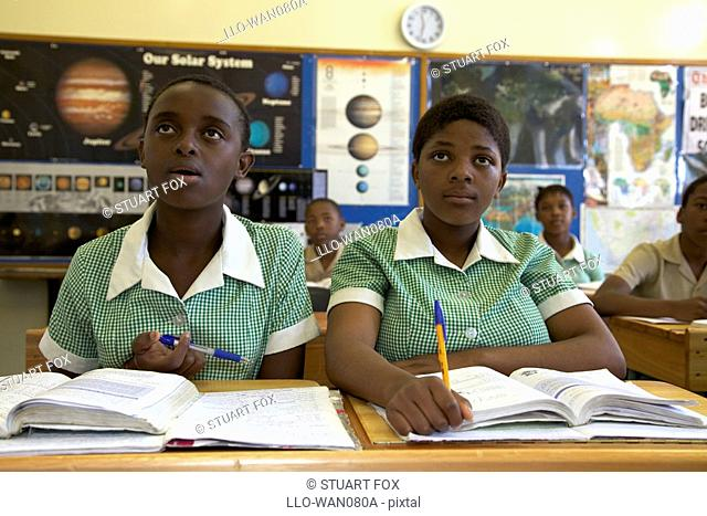 Two schoolgirls concentrating during class, KwaZulu Natal Province, South Africa