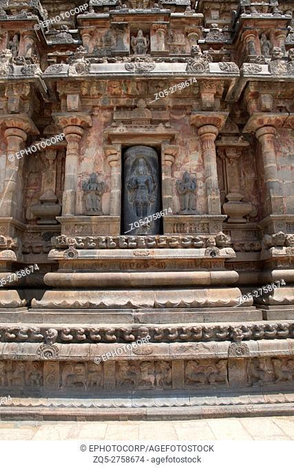 Lingodbhava, niches on the west wall, Airavatesvara Temple, Darasuram, Tamil Nadu, India. View from West