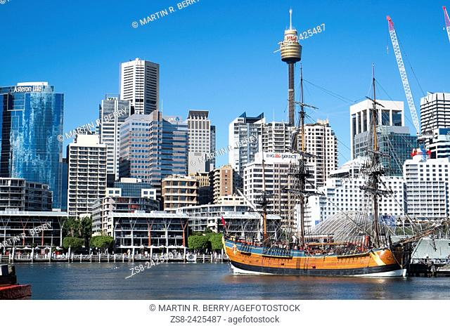 Sydney Central Business District and HM Bark Endeavour replica Ship in Darling Harbour