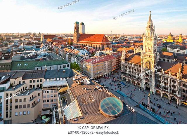 Panoramic view at the Marienplatz and the Frauenkirche, Munich, Germany