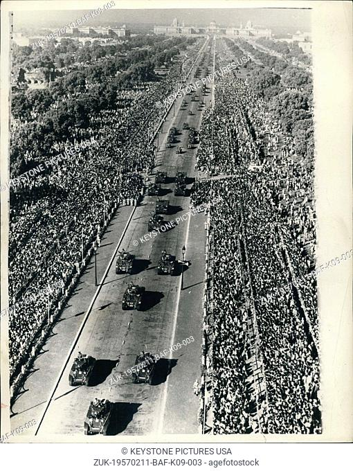 Feb. 11, 1957 - India Celebrates 'Republic Day' - in New Delhi. Parade Through the City.: General view as huge crowds watch the parade of India's fighting Power...