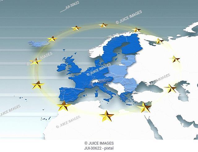 map, Western Europe, European Union, white, grey, political, physical, EU Stars