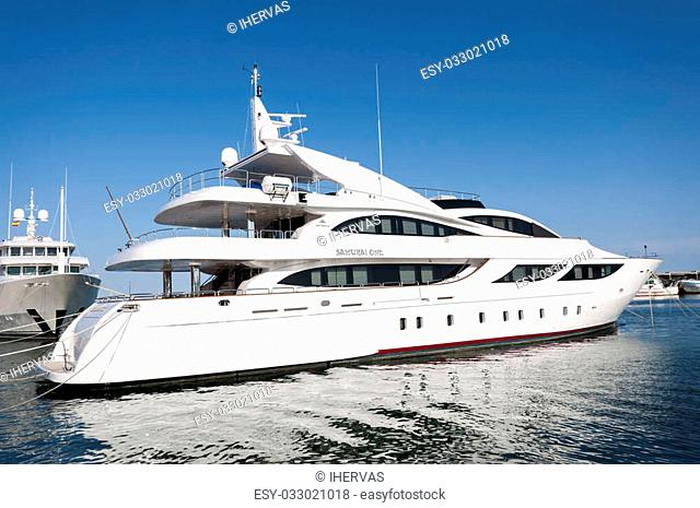 Luxury yacht in the sport port of Santa Pola on May 2, 2013 in Santa Pola, Alicante, Spain. It is a coastal town located in the comarca of Baix Vinalopo